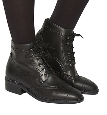 2b88ee19a7 Womens Office Limerick Brogue Lace Up Boots BLACK LEATHER Boots | eBay