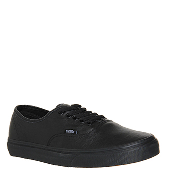 girls black leather vans