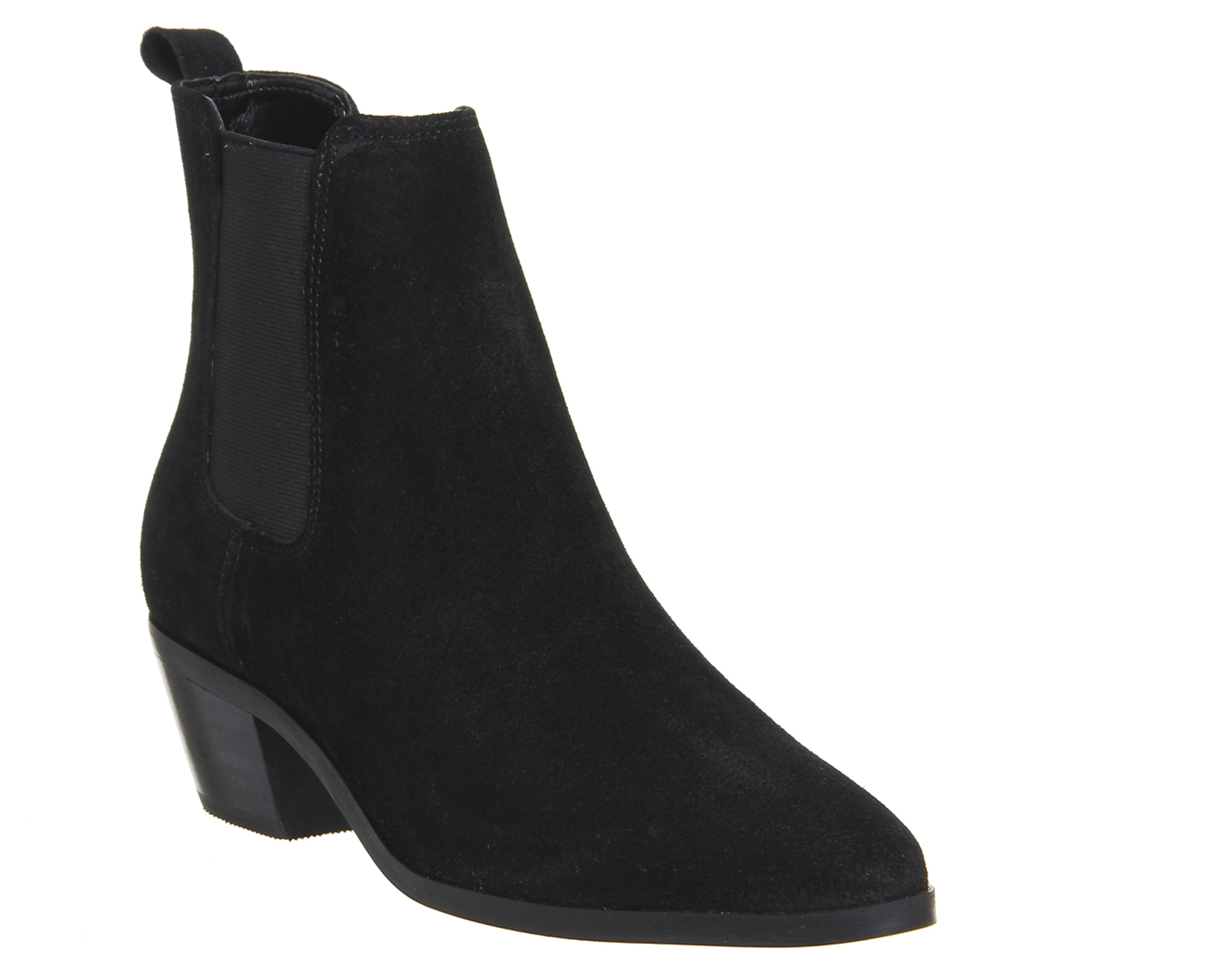 Womens Office Leonardo Chelsea Ankle Boots Black Suede