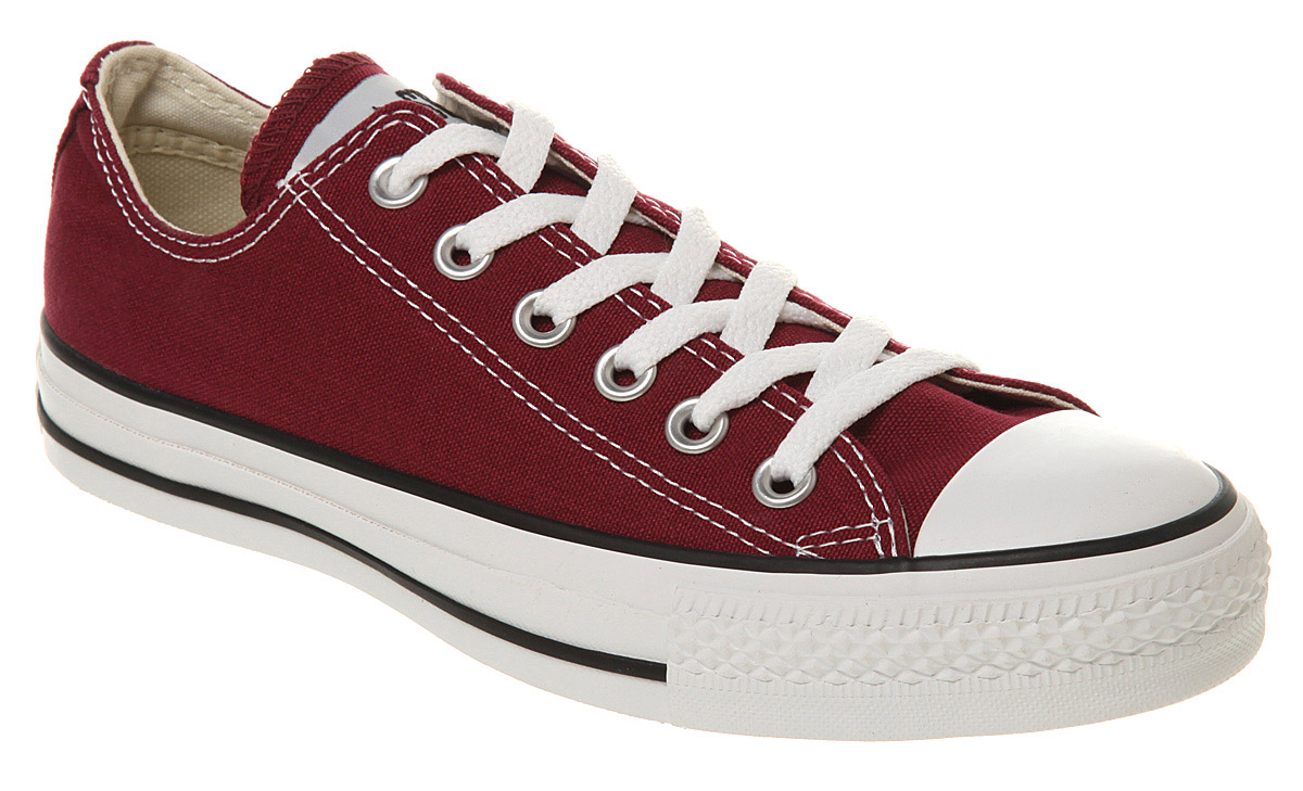converse all star ox low maroon canvas trainers shoes. Black Bedroom Furniture Sets. Home Design Ideas
