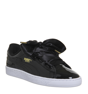 3765012dbdd Puma Basket Heart BLACK PATENT Trainers Shoes