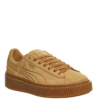 Womens Puma Suede Platforms GOLD SPECKLED CAMEL Trainers Shoes  9a2c7ad2a