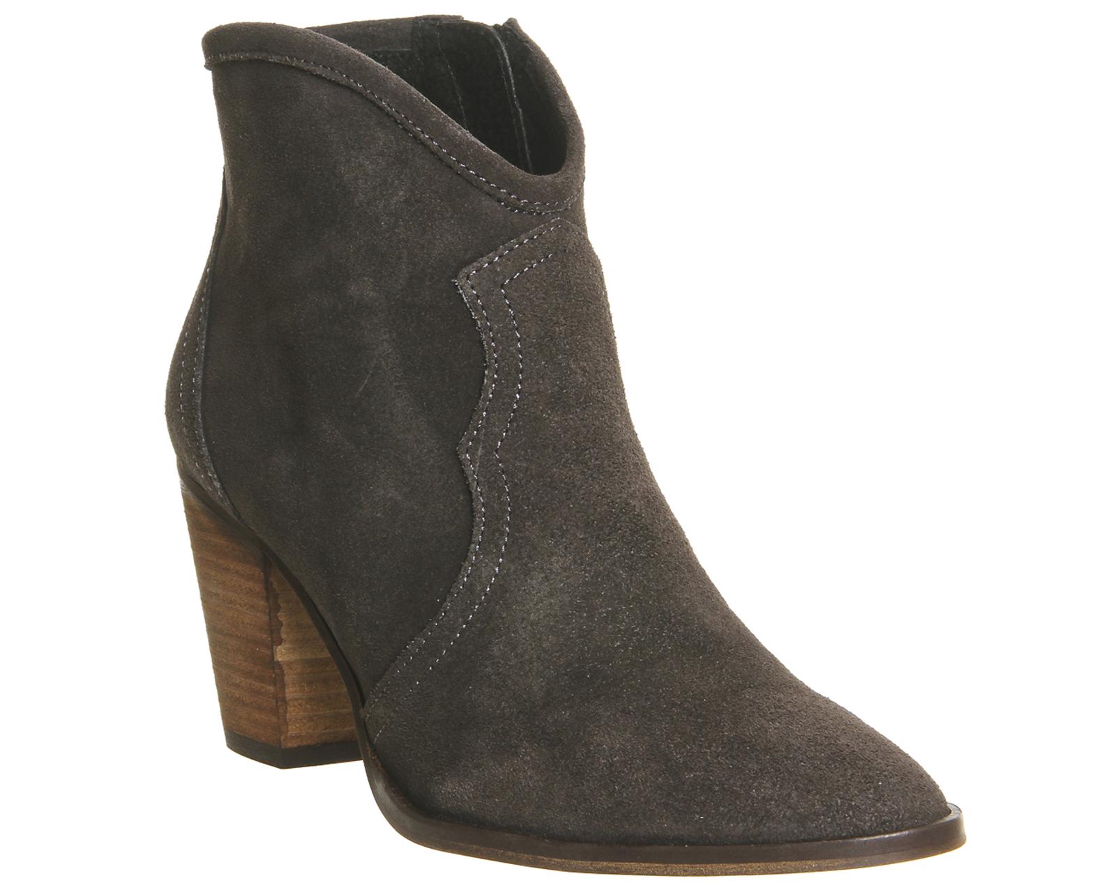 womens office alfresco mid heel western boots grey suede