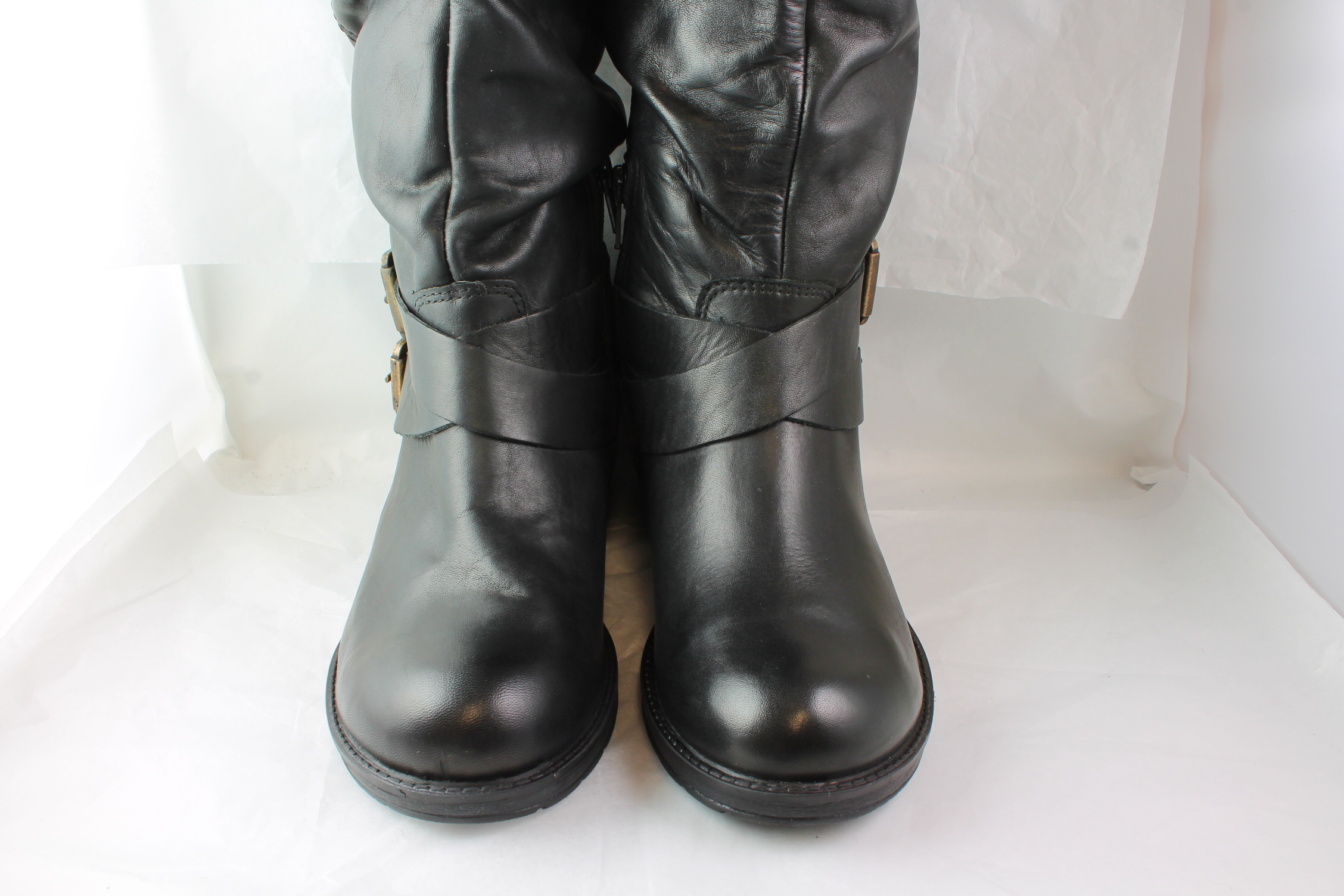 womens office nifty buckle knee black leather boots