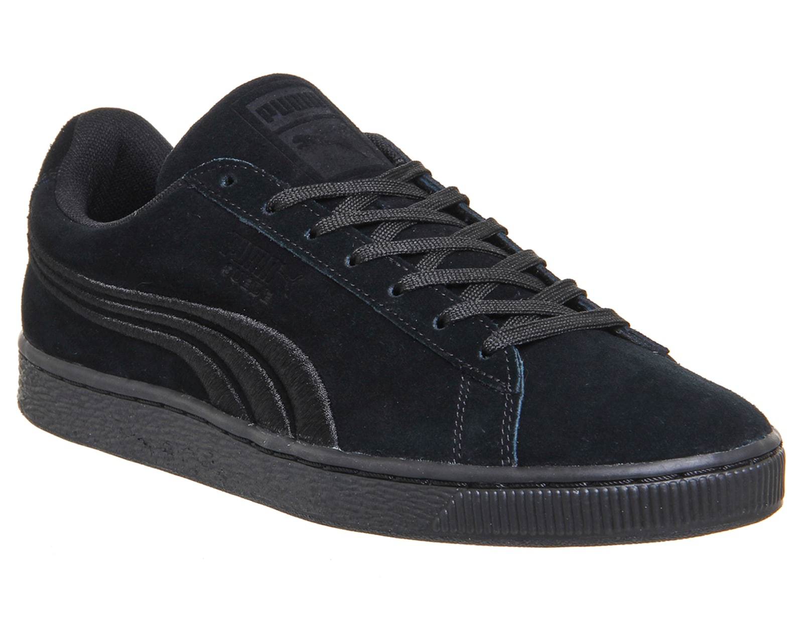 mens puma suede classic black mono badge trainers shoes ebay. Black Bedroom Furniture Sets. Home Design Ideas