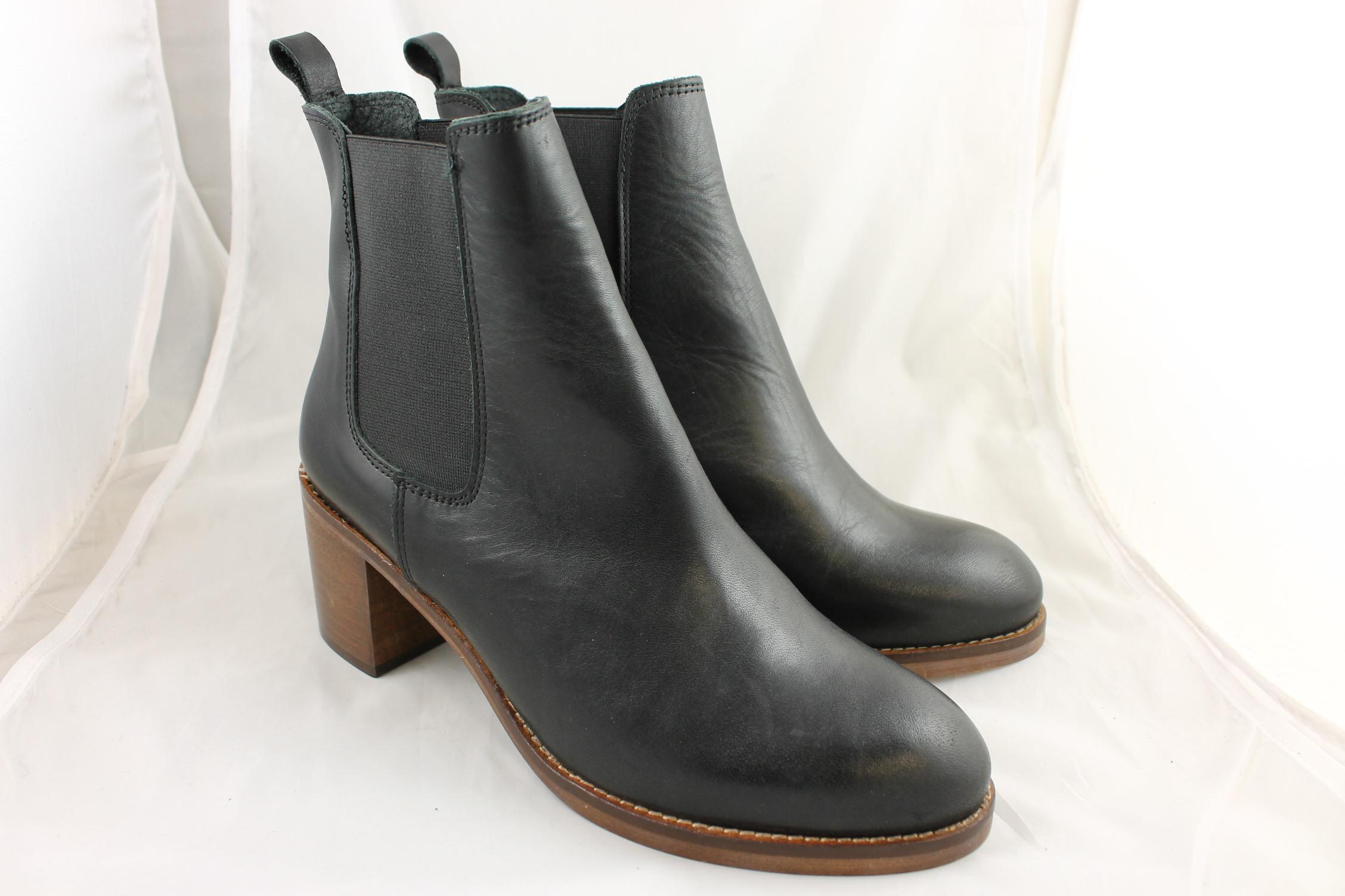 Womens-Office-Smart-Mid-Heel-Chelsea-Black-Leather-Boots-Ex-Display
