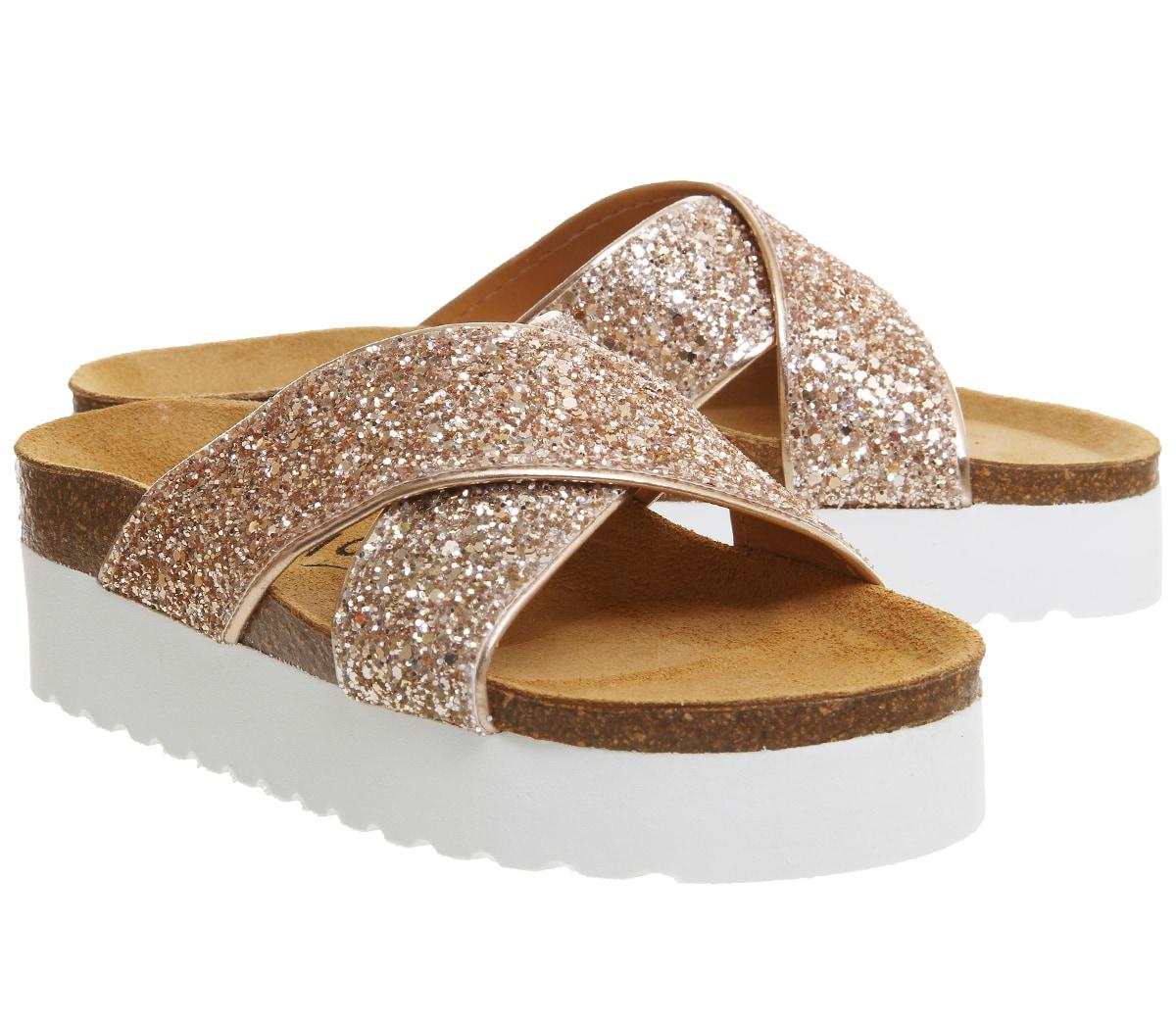 Womens Bedroom Slippers Womens Office Warner Platform Sandals Rose Gold Glitter