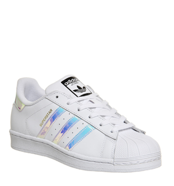 womens adidas white and silver superstar trainers