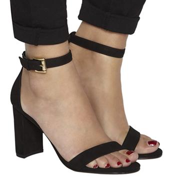 a8365582282 Womens Office Nina Block Heel Sandals BLACK NUBUCK Heels