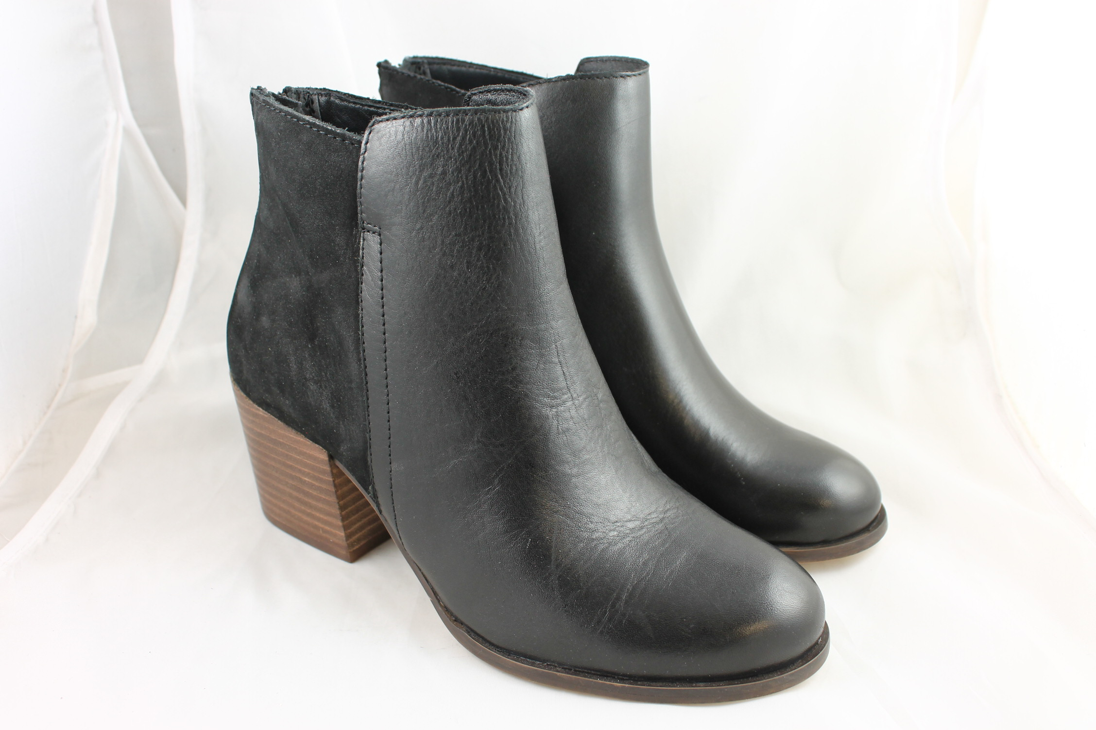 13c6ac2a8e23 Womens Office Fern Mid Heel Back Zip Boots BLACK LEATHER NUBUCK ...