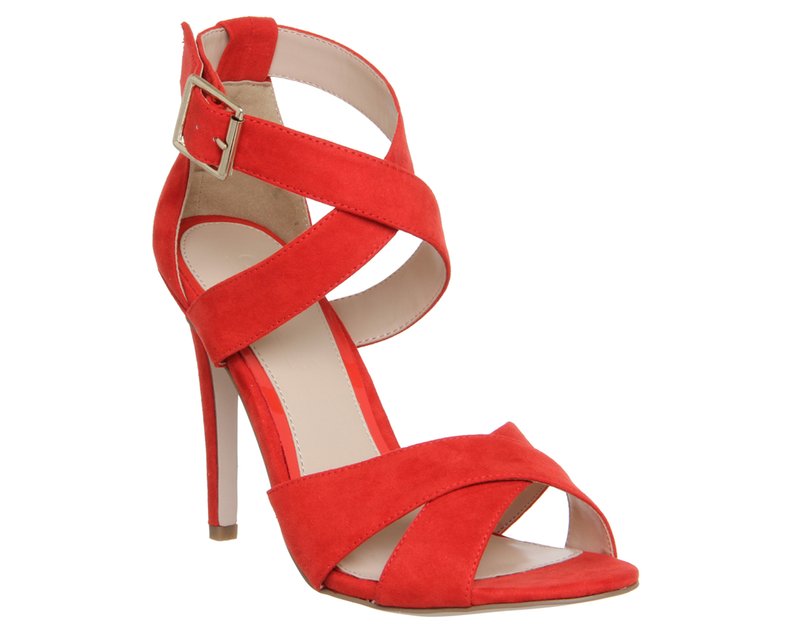 Womens Office Passion Cross Strap Single Sole Sandal Red High Heels