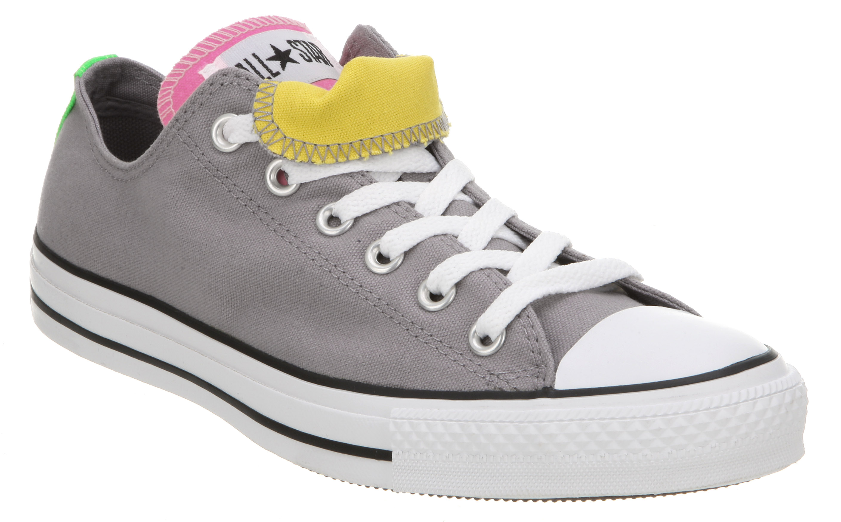 Converse All Star Ox Low Double Tongue Grey pink yellow Canvas ... 8cf80b15c