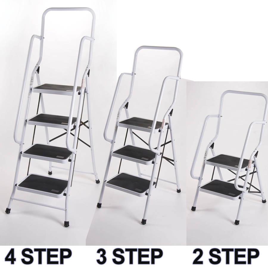 Non Slip Safety Rail Step Ladder 2 3 4 Step Steel