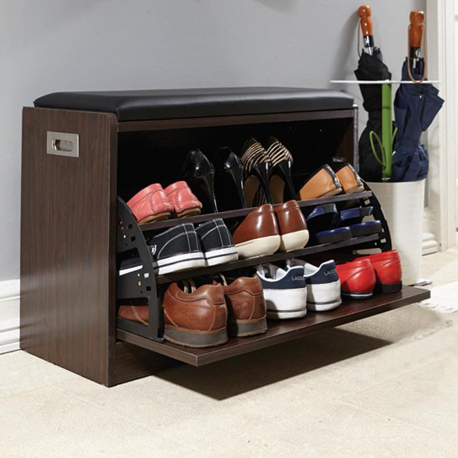 Deluxe Shoe Ottoman Bench Storage Closet Wooden Entryway ...