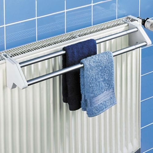 bath radiator clothes towel rail rack dryer airer 2 bar ebay. Black Bedroom Furniture Sets. Home Design Ideas