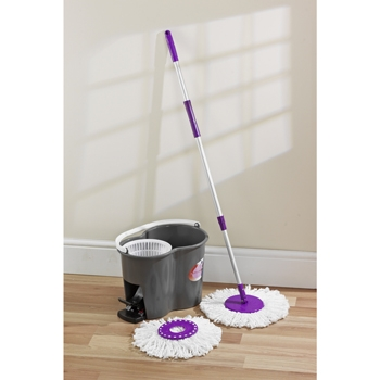 SPIN DRY CLEANING MOP SYSTEM ROTATING HEAD SMART BUCKET