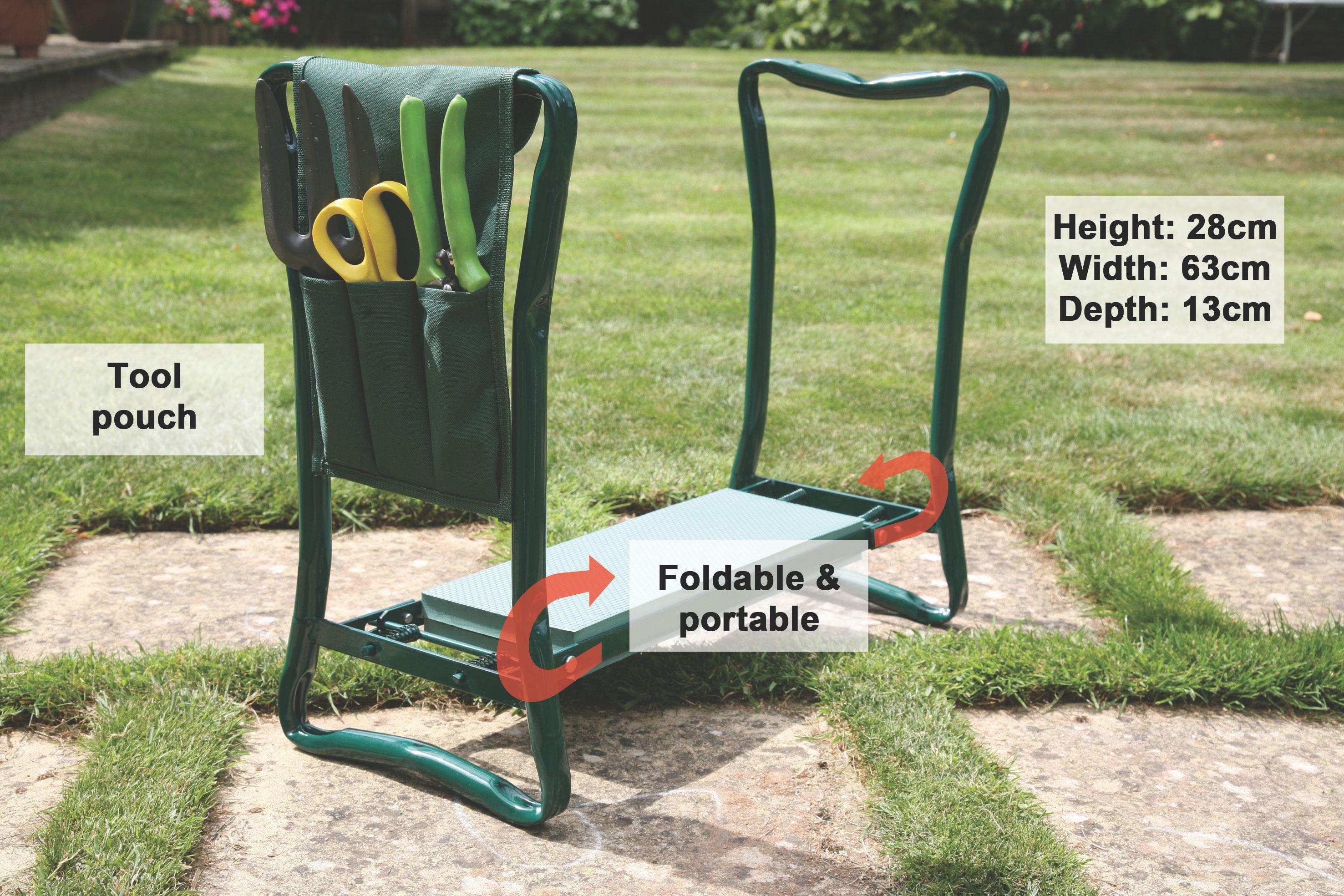 Folding Garden Stool Portable Kneeler Tool Holder Padded