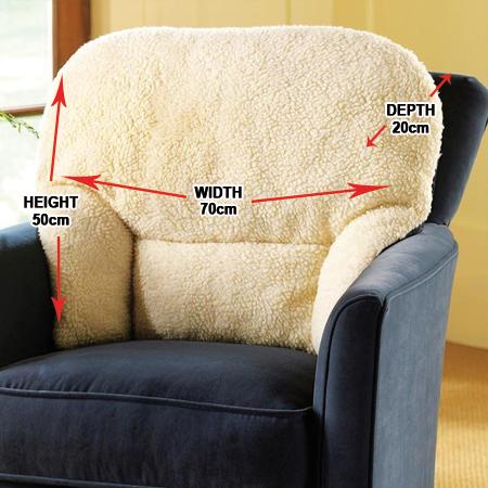 Fleece Back Rest Lumbar Support Aid Armchair Cushion Oap