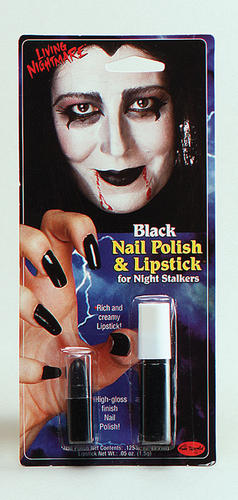 Black-Nail-Polish-Lipstick-Witch-Morticia-Adams-Cruella-Halloween-Fancy-Dress