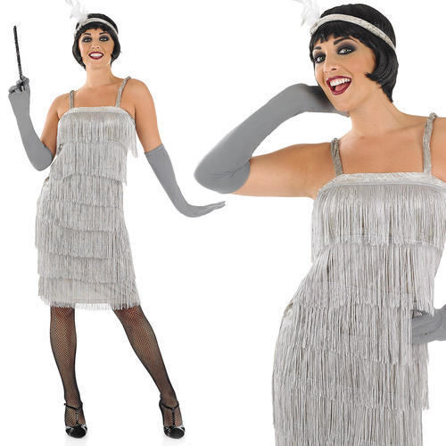 Ladies Silver Flapper Fancy Dress Costume 20s Charleston