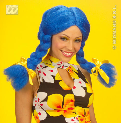 Neon Blue Wig With Bunches Rag Doll School Girl Katy Perry Fancy Dress