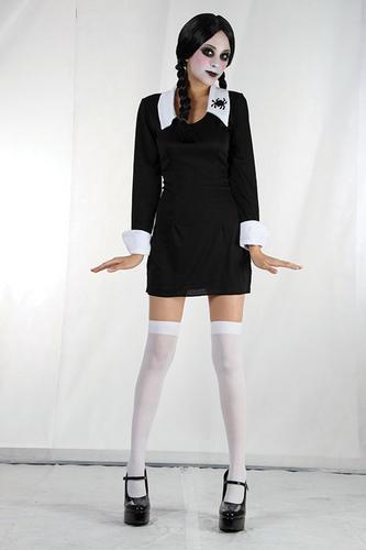 Childrens-School-Girl-Fancy-Dress-Costume-Morticia-Adams-Family-Halloween-4-6Yr
