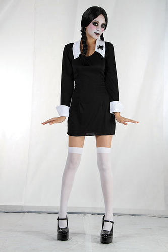 Childrens-Schoolgirl-Fancy-Dress-Morticia-Adams-Family-Halloween-Outfit-7-10-Yrs