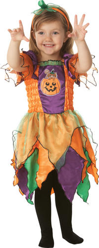 Childrens-Pumpkin-Fancy-Dress-Costume-Witch-Halloween-Outfit-2-3-Yrs