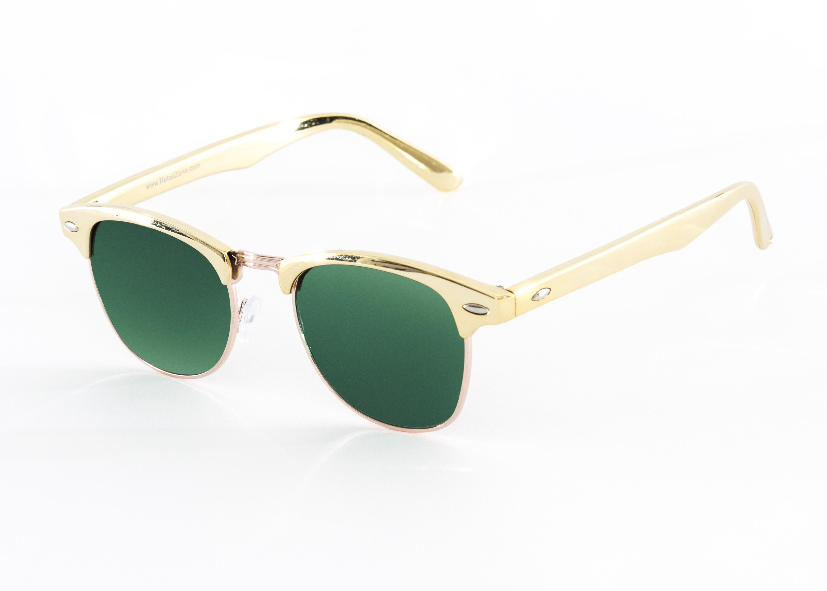 Retro 1980 s Vintage Gold Frame Green Clubmaster Aviator ...