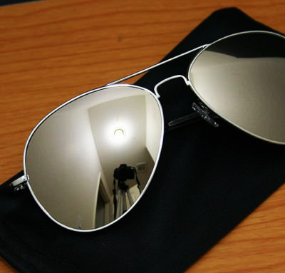 Full Mirror Aviator Sunglasses & Pouch Silver Mirrored Top Gun Pilot Shades