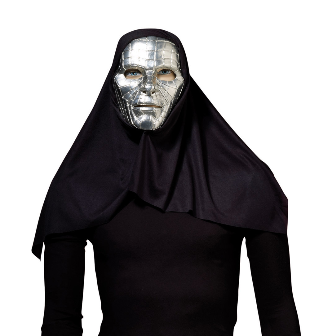 Silver Robot Mask & Hood Halloween Cyber Villain Fancy Dress ...