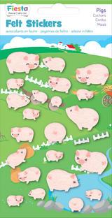 Pig Felt Stickers Farm Animals Sticker Pack Set Stocking Filler Party Bag Gift