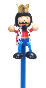 Hand Painted King Character Pencil & Topper Set Party Bags & Stocking Fillers