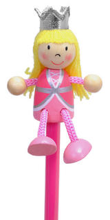Hand Painted Princess Character Pencil & Topper Set Party Bags & Stocking Filler