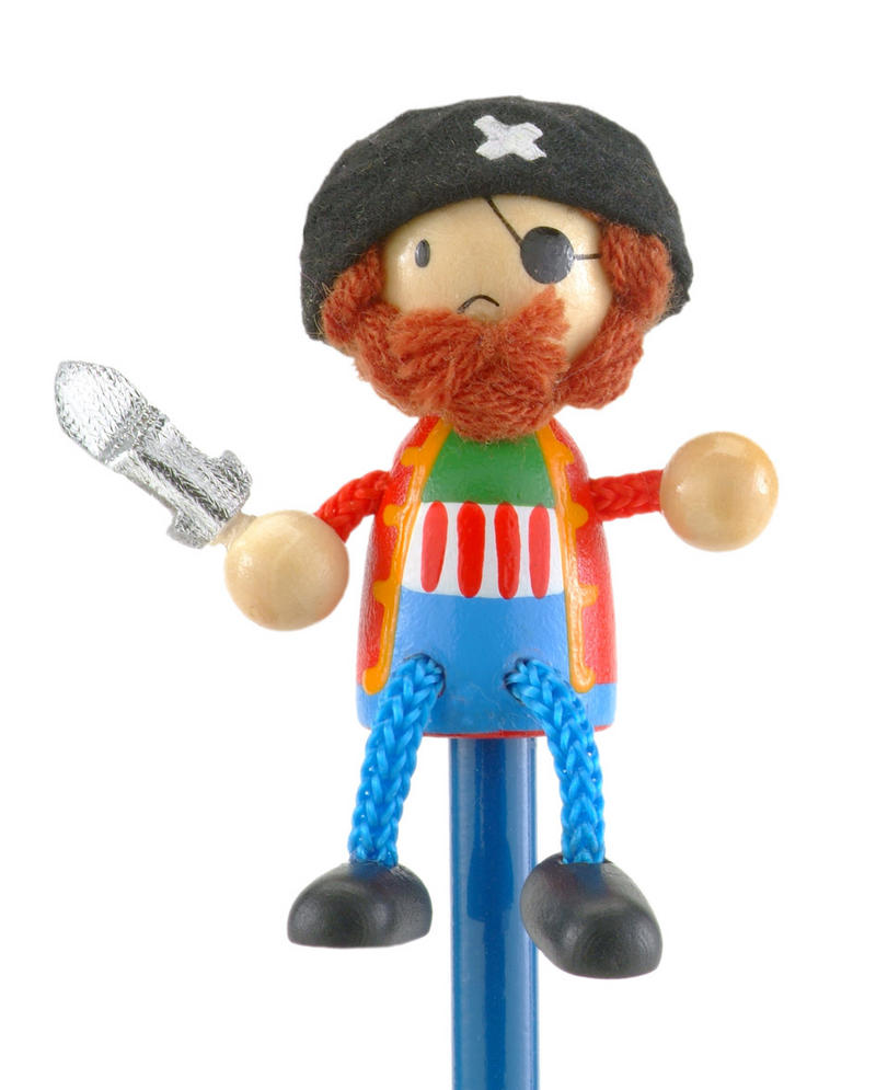 Hand Painted Pirate Character Pencil & Topper Set Party Bags & Stocking Filler