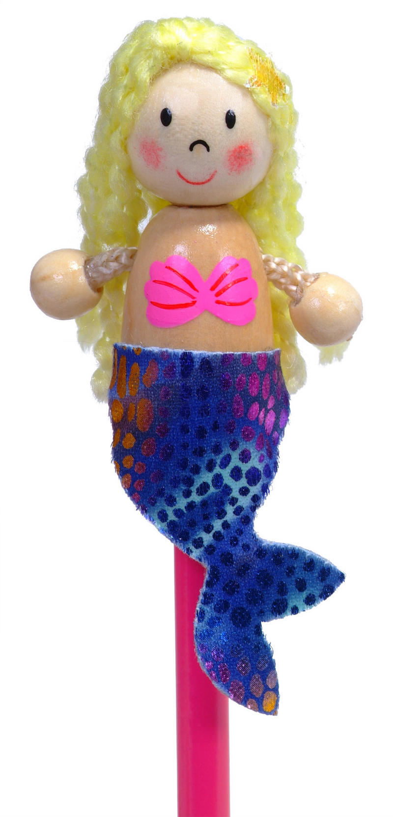 Hand Painted Mermaid Character Pencil & Topper Set Party Bags & Stocking Filler
