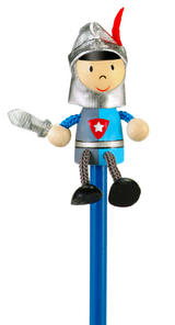 Hand Painted Knight Character Pencil & Topper Set Party Bags & Stocking Filler