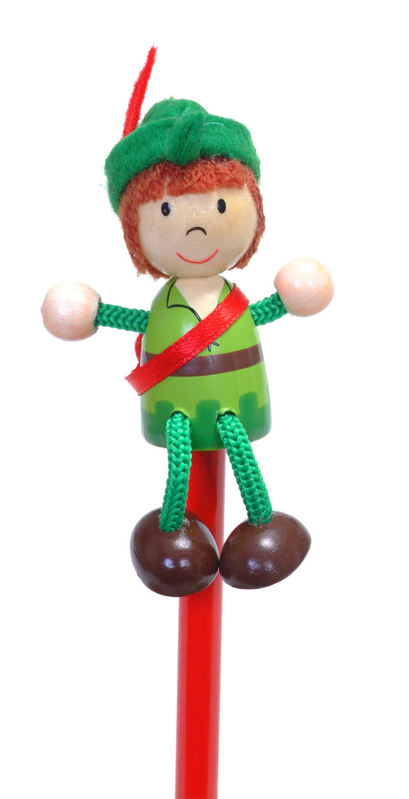 Painted Robin Hood Character Pencil & Topper Set Party Bags & Stocking Filler