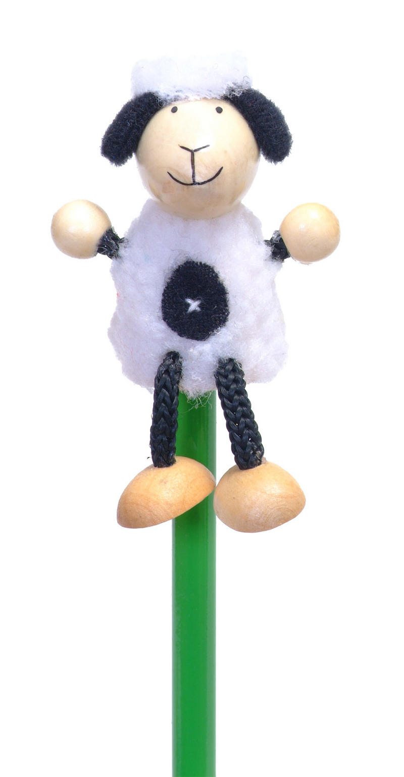 Hand Painted Sheep Character Pencil & Topper Set Party Bags & Stocking Filler