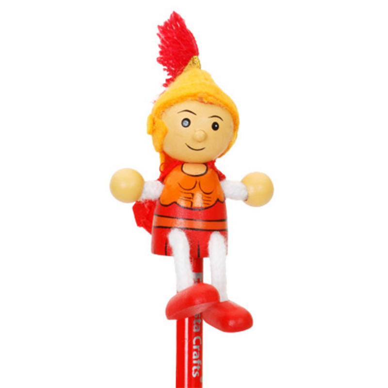 Hand Painted Roman Character Pencil & Topper Set Party Bags & Stocking Filler
