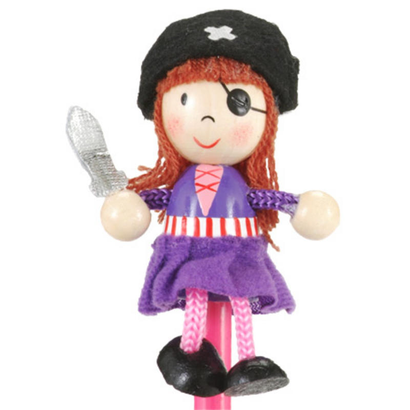 Girl Pirate Hand Painted Character Pencil & Topper Set Party Bag Gift