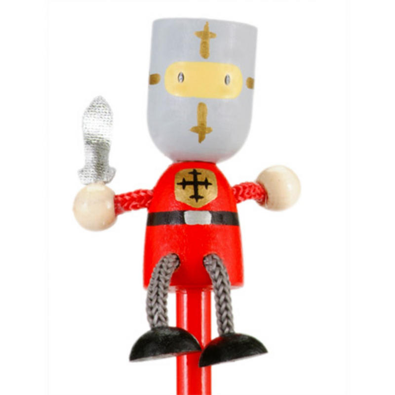 Red Knight Hand Painted Character Pencil & Topper Set Party Bag Gift