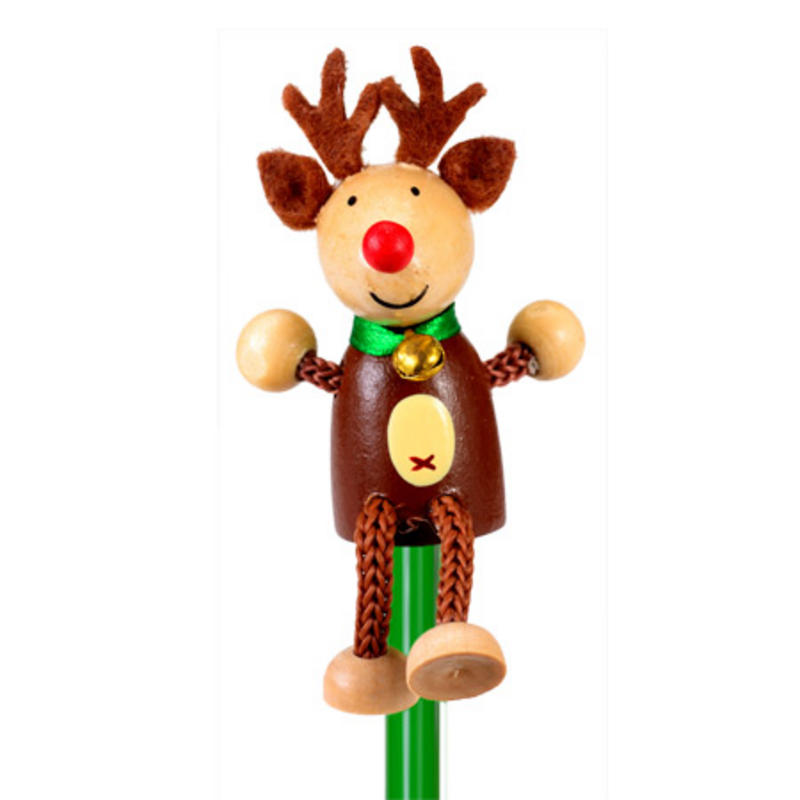 Reindeer Hand Painted Character Pencil & Topper Set Party Bag Gift