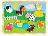 Childrens Chunky Wooden Fam Animal Puzzle 9 Pieces - Age 1+ by Fiesta Crafts