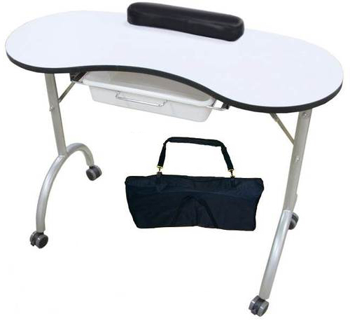 Manicure table portable nail technician desk workstation for Folding nail technician table