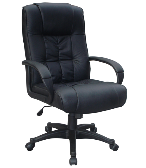 PADDED BLACK LEATHER OFFICE CHAIR LUXURY HIGH BACK NEW EBay