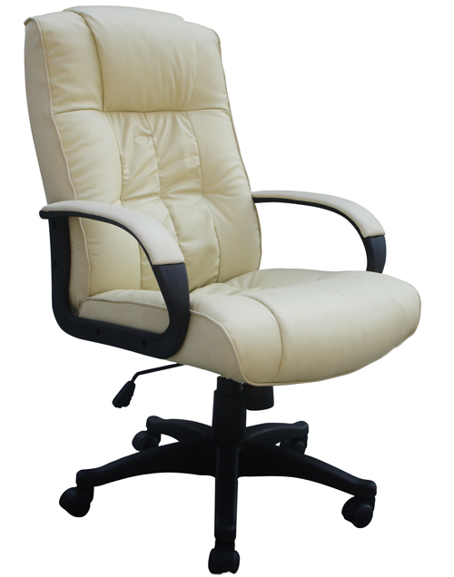 details about padded cream leather office chair luxury high back new