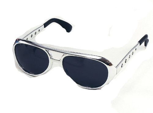 Silver Elvis Presley Sunglasses Glasses The King Fancy Dress