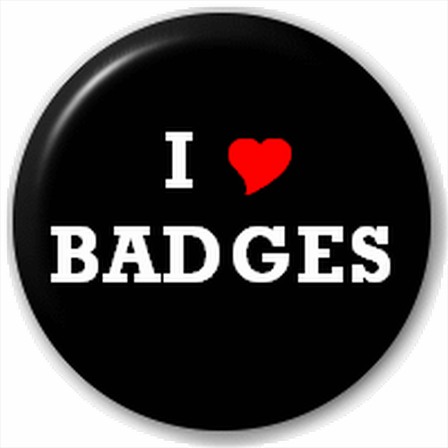 NEW LAPEL PIN BUTTON BADGE: I HEART LOVE BADGES