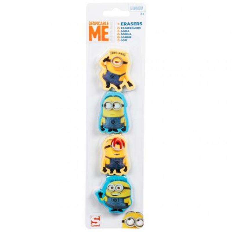Minions Despicable Me 4pk Erasers Rubbers  Party Bags Stocking Filler